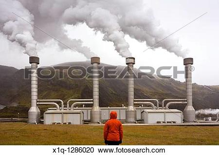 Stock Photography of Nesjavellir Geothermal Power Station, South.