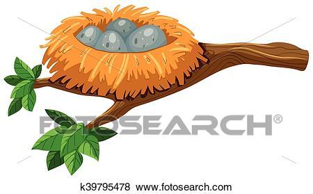 Four eggs in bird nest Clip Art.