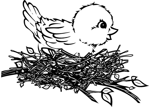 Bird nest clipart black and white clipart images gallery for.