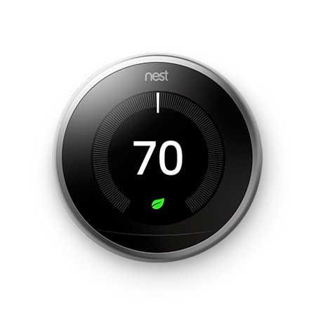 Google Nest Learning Thermostat, 3rd Gen, Stainless Steel.