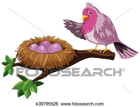 Bird and bird nest with eggs Clip Art.