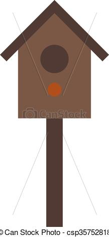 Vector Clip Art of Wooden birdhouse hanging on tree nesting box.