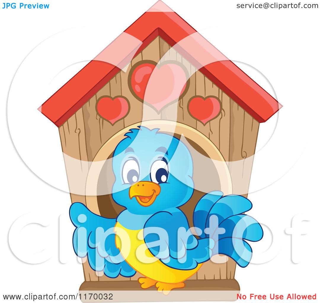 Cartoon of a Happy Bluebird at a Nesting Box Birdhouse.