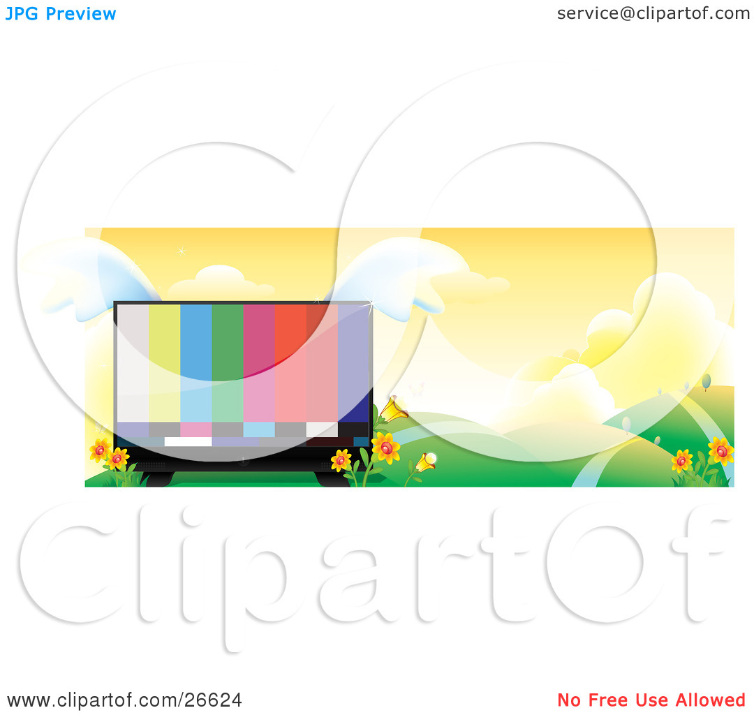 Clipart Illustration of a Large Flat Screen Tv With Colorful Bars.