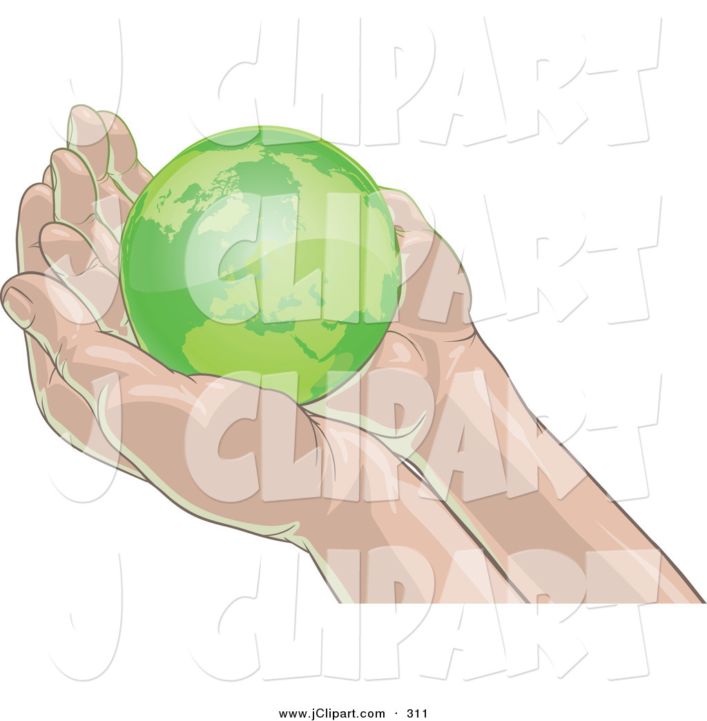 Vector Clip Art of a Small Green Planet Earth Nestled in Gentle.