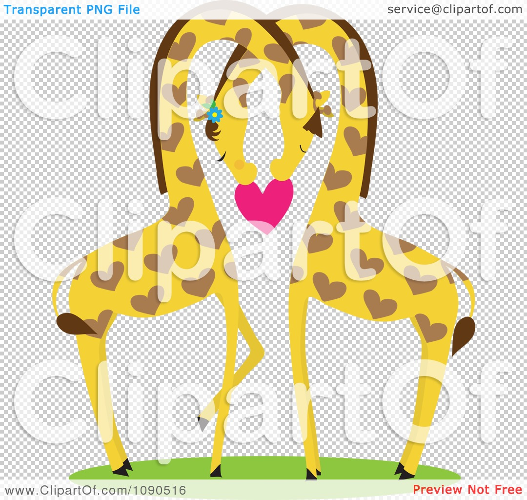 Clipart Giraffe Pair Nestled Together And Holding A Heart.