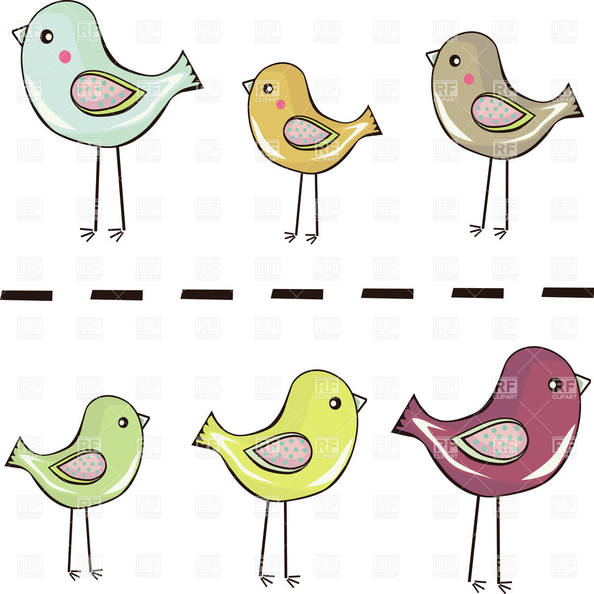 Cute standing cartoon birds and nestlings Vector Image #34066.