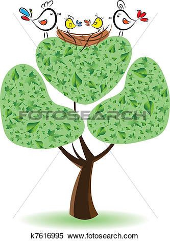 Clipart of Birds on the tree with nestlings.Vector illustration.