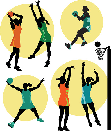 Netball players in action clipart.