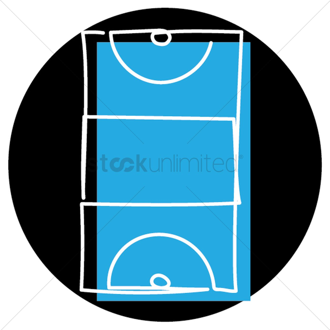 Netball court Vector Image.