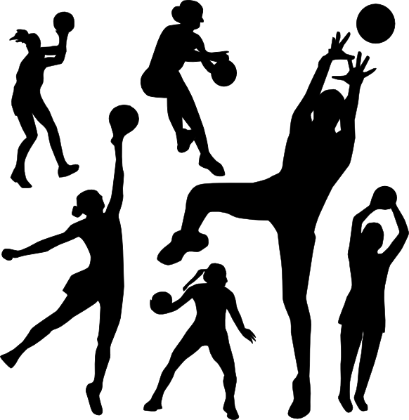 Netball Silhouette clip art.