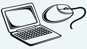 Closed Netbook Mouse Stock Illustrations.