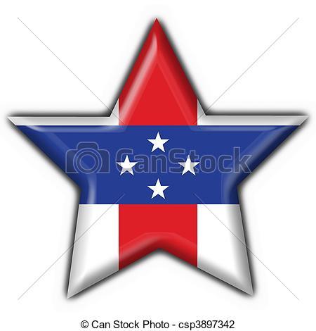 Clip Art of Netherlands Antilles button flag star shape.