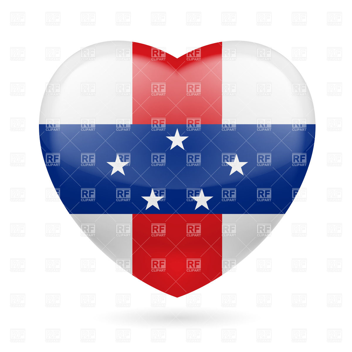 I love Netherlands Antilles. Heart with flag design Vector Image.