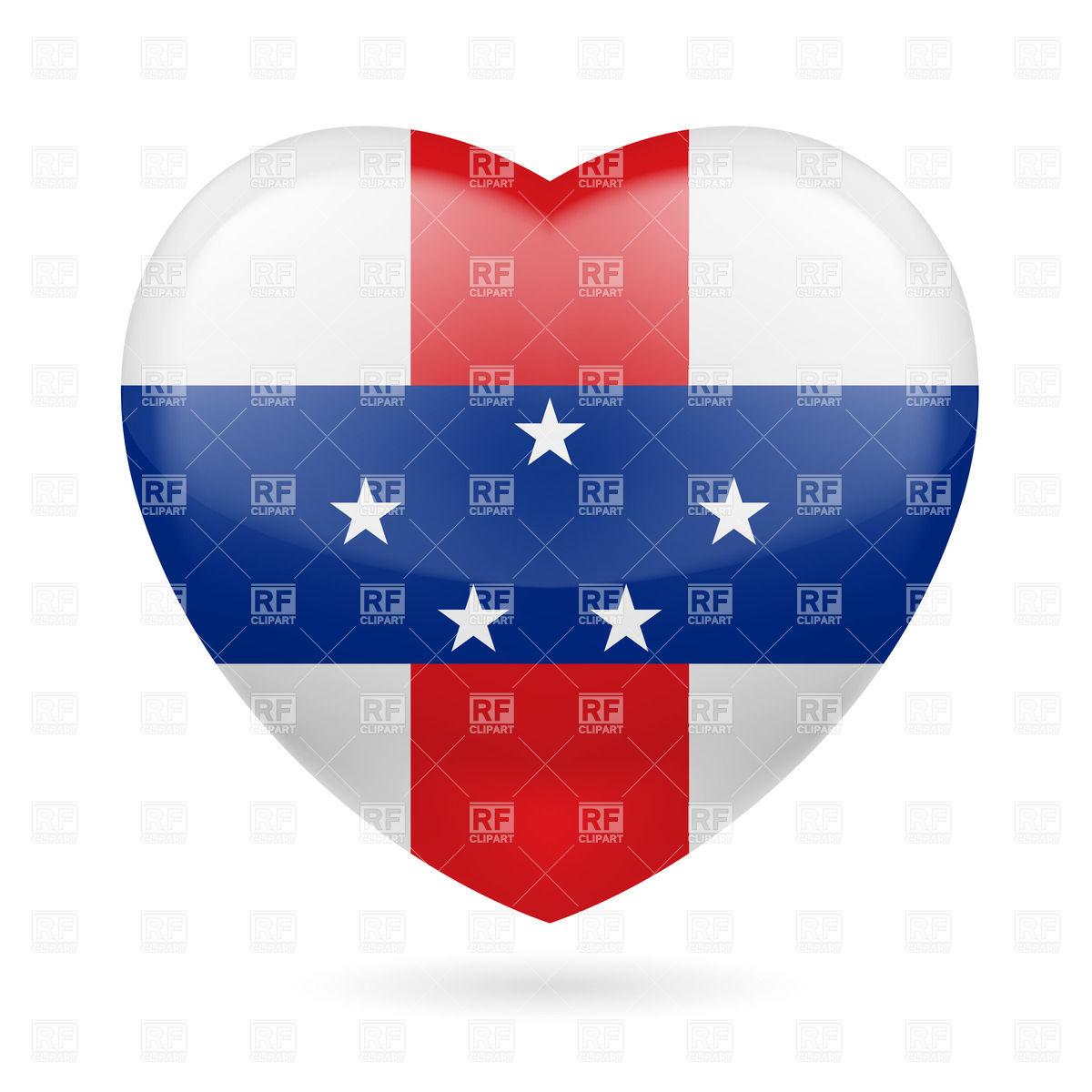 I love Netherlands Antilles. Heart with flag design Vector Image.