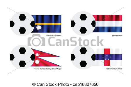 Clipart Vector of Soccer Ball with Nauru, Netherlands, Nepal and.