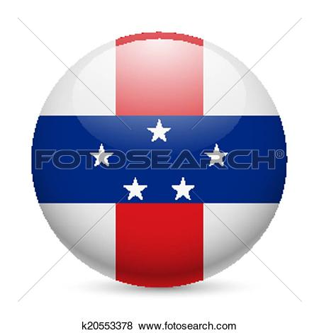 Clip Art of Round glossy icon of Netherlands Antilles k20553378.