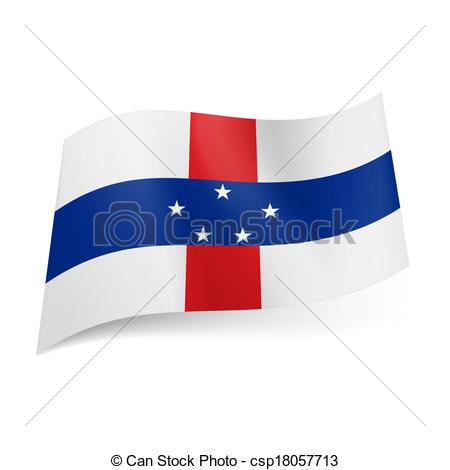 Vector Clip Art of State flag of Netherlands Antilles.