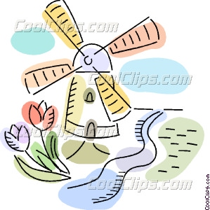 Dutch Windmills Vector Clip art.