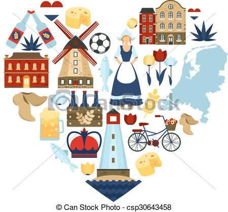 Clipart Vector of Netherlands Heart Concept.