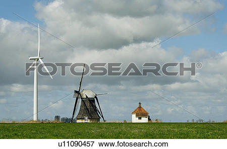 "Picture of ""Landscape with wind turbine and windmill face to face."
