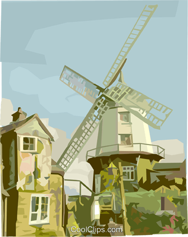 windmills, Netherlands landscape Royalty Free Vector Clip Art.