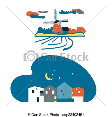 Clipart Vector of netherlands landscape.