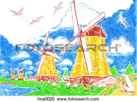 Stock Illustrations of Netherlands landscape with windmills.