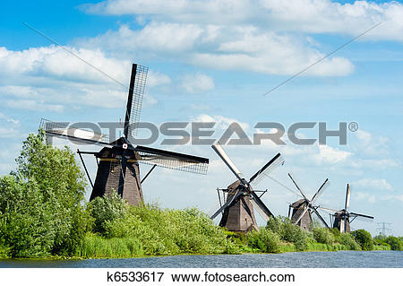 Picture of Windmill landscape at Kinderdijk The Netherlands.