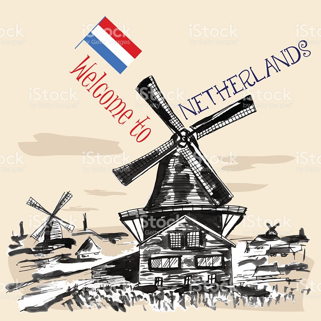 Traditional Netherlands Landscape With Windmills stock vector art.