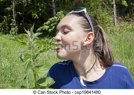 Pictures of Girl licking stinging nettle leaves.