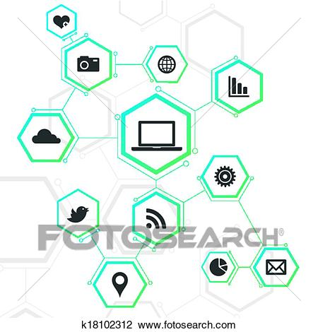 Abstract Network Design with Icons Clipart.