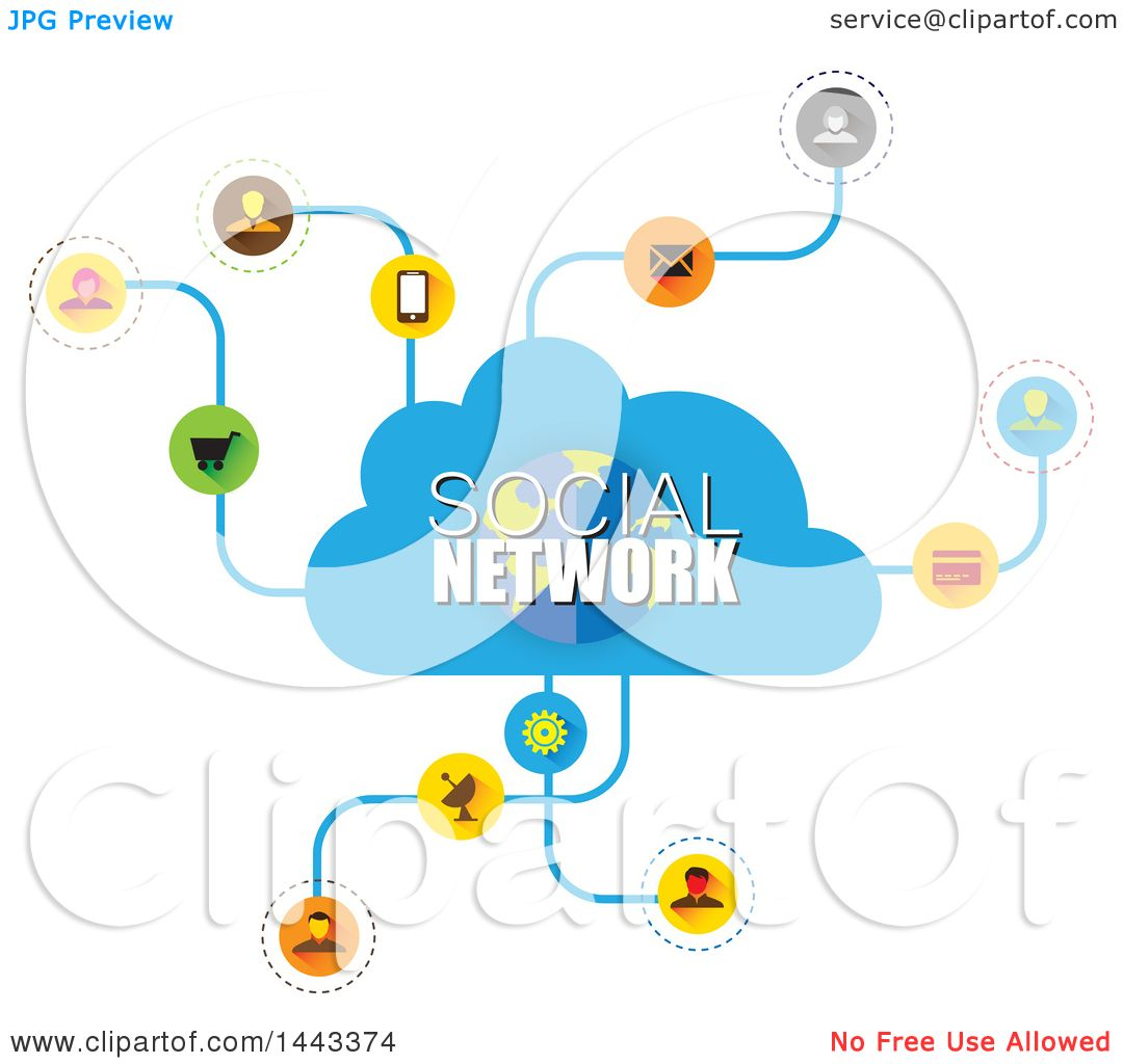 Clipart of a Cloud and Social Network Design.
