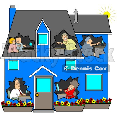 Illustration of a Networked Family Using Their Computers In Their.