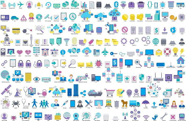 Copyright Free Network Diagram Icons.