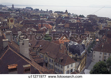 Picture of Switzerland, Neuchatel, Scenic aerial view of the city.
