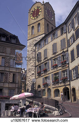 Picture of outdoor cafT, clock tower, Switzerland, Neuchatel.