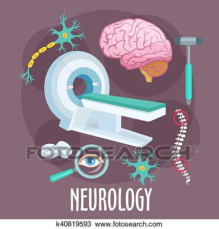 Neurology flat symbol with brain research icons Clipart.