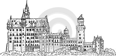 Neuschwanstein Castle Stock Illustrations.