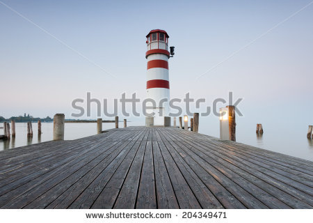 Lighthouse At Sunrise In Podersdorf Am See, Lake Neusiedler See.