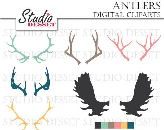 Antlers Silhouette Cliparts Deer Clip Art Tribal by StudioDesset.