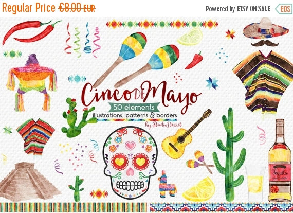 75% OFF Cinco de Mayo Cliparts Watercolor Mexico by StudioDesset.