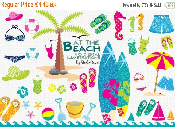 75% OFF Beach Cliparts Summer Clip Art Surf Clipart Flip.