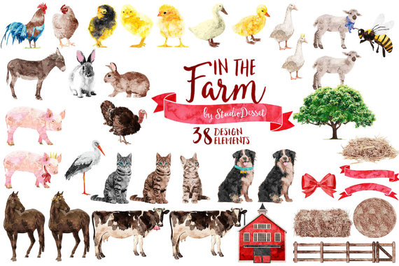 75% OFF Farm Animals Clipart Watercolor Farm Clip by StudioDesset.