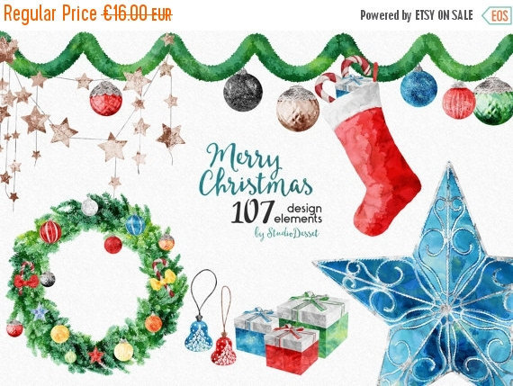 75% OFF Christmas Cliparts Watercolor Clip Art by StudioDesset.
