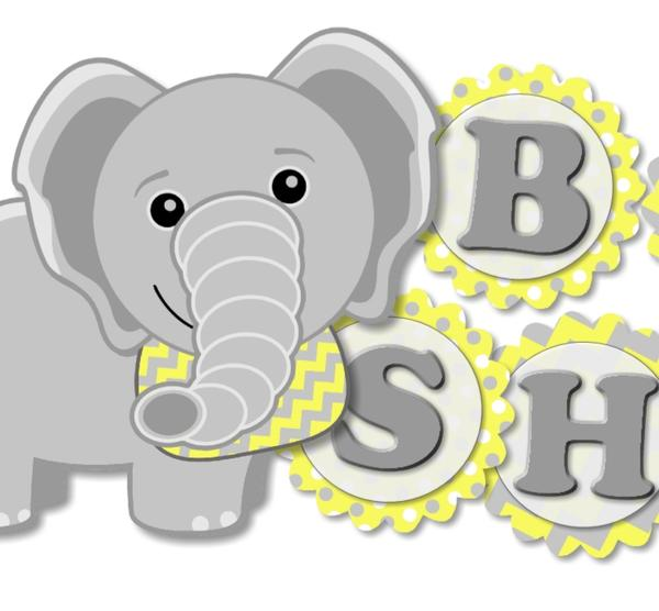 Yellow Elephant BABY SHOWER Banner for Gender Neutral Party.