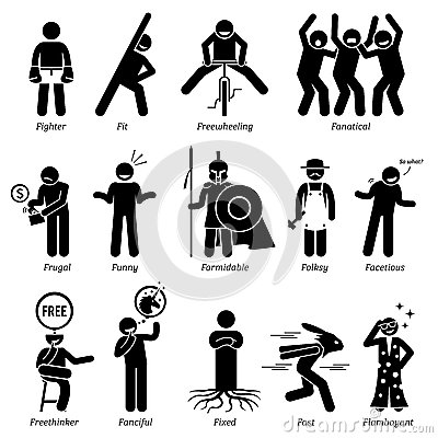 Neutral Personalities Character Traits Clipart Stock Vector.