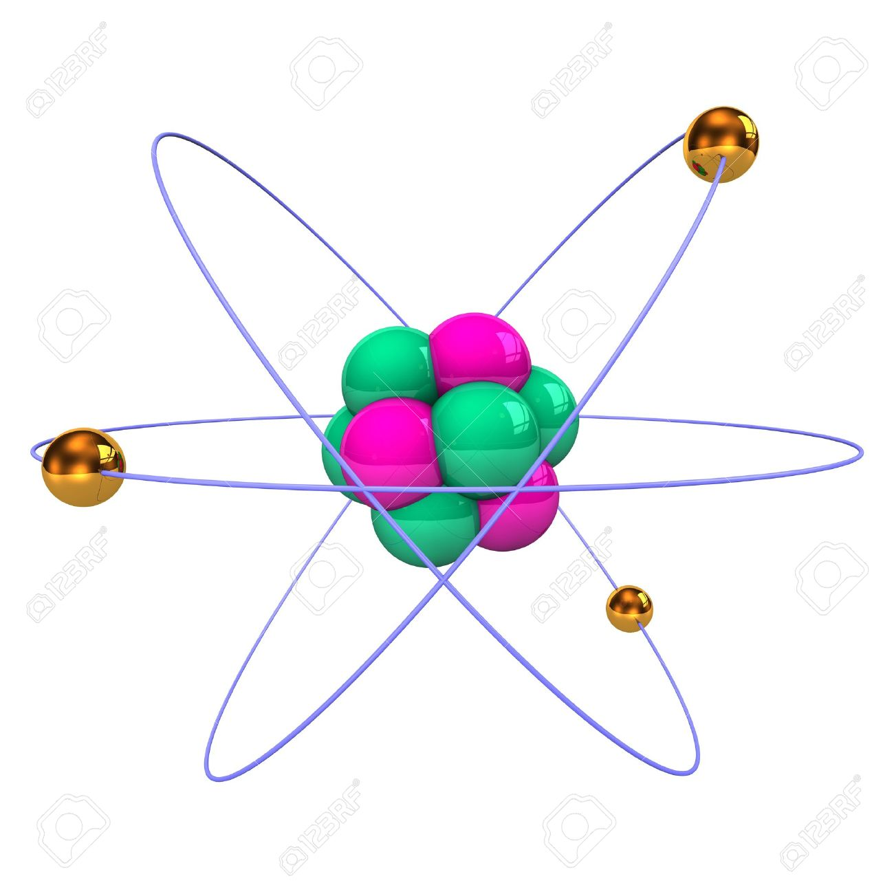 Atom With Golden Electrons, Purple Protons And Green Neutrons.