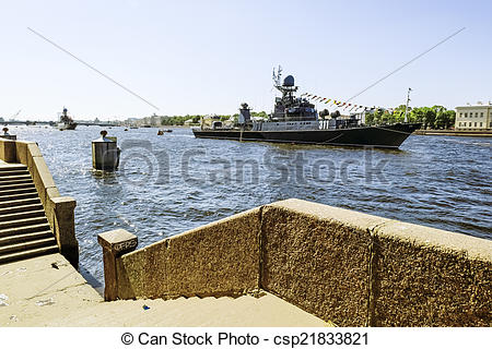 Stock Photo of Warships in the waters of the Neva River in St.
