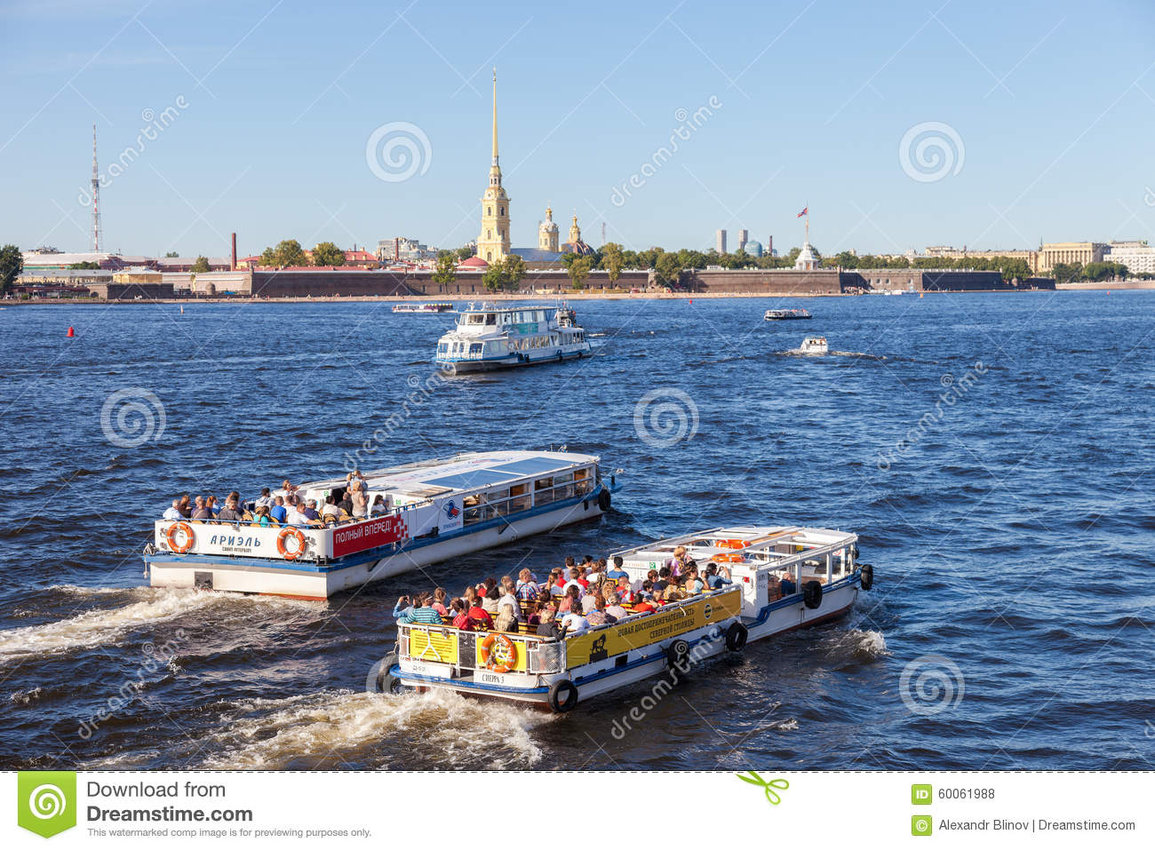 River Cruise Boats On The Neva River In Summer Sunny Day Editorial.